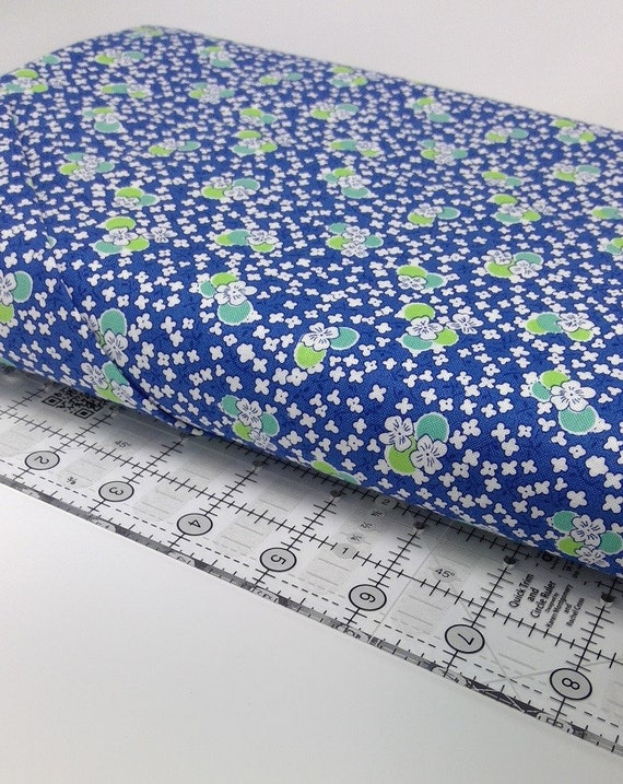 White, Teal and Green Wildflowers On Navy Blue, Toy Chest Florals From Washington Street Studio's For P&B Textiles, Fabric By The Yard 0412n