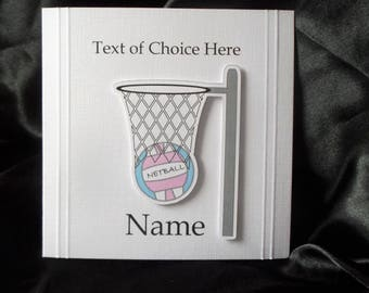 Personalised Netball Card Any Occasion, Birthday, Congratulations, Thank You, Father's Day, Mother's Day etc.