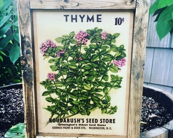 """Thyme Vintage Seed Packet Art Sign - Framed Wood Sign Wall Art - 10.5"""" x 7.5"""""""