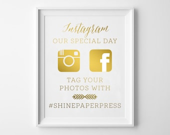 Wedding INSTAGRAM Gold SIGN / Wedding Hashtag Sign / Custom Wedding Instagram Signs in GOLD Foil / Gold Foil Wedding Signs