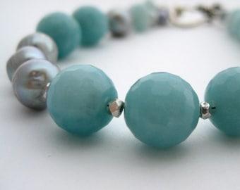 dream bracelet - amazonite, pearl, and sterling silver bracelet