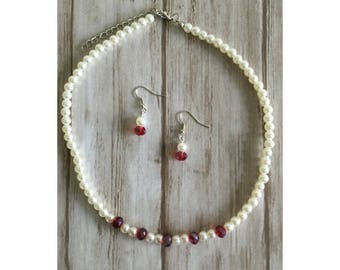 Bridal jewelry / crème / red / wedding / pearl | Bridal jewels 'White & Red'