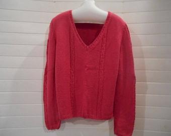 Fuchsia color Merino and cotton sweater.