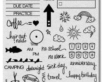 Clear Stamp Set 1 - Calendar Planner Clear Rubber Stamp Set 44 Stamps included