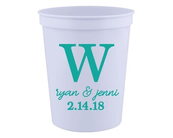 Inital and Name, Wedding Favor- 16 oz. Reusable Plastic Stadium Cup- Minimum Purchase of 12 Cups!