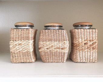 Set of 3 Vintage Glass Canister with Woven Wicker Cover - Boho Canisters - Bohemian Style Canisters - Vintage Canisters - Wicker Canisters