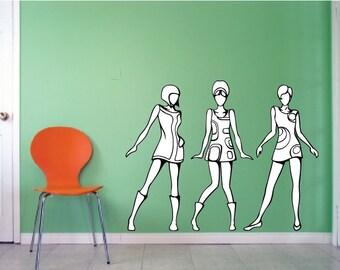 Mod Girls Wall Decals - Modernist Dancing/Posing Girl