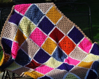 Vintage Afghan Groovy Granny Square Big Bang Style