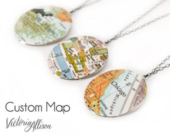 Personalized Silver Map Necklace, Custom, Oval, Large Vintage Locket, Map Jewelry, Holiday Gift, Gift Under 50 - Made to Order