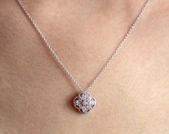 Art deco pendant etsy 04 ctw milgrain art deco pendant necklace marquise cut diamond simulant filigree bridal necklace audiocablefo