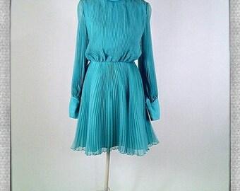 Vintage 60's Blue Chiffon Dress