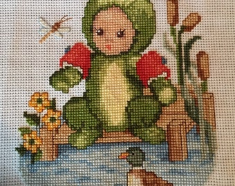 Completed Frog Baby Cross stitch