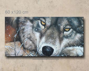 60 x 120 cm, wolf painting oil painting on canvas wall decor