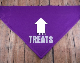 Insert Treats Human Helper. Cotton graphic over-the-collar V-shirt bandana for dogs. Food. Snacks Ball.