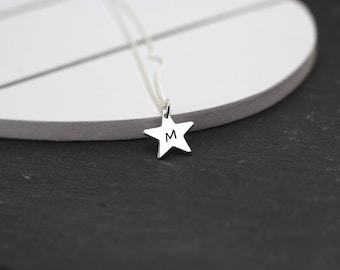 Silver Star Necklace, Personalised Star Necklace, Tiny Star Necklace, Star Initial Necklace, Custom Star Necklace