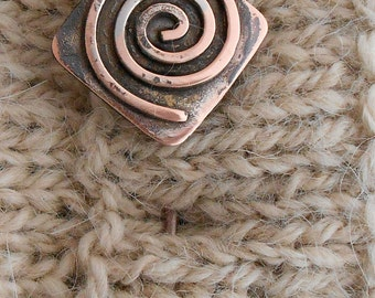 Shawl Pin Copper with Handcrafted Spiral