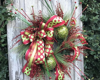 Whimsical Christmas Wreath, Traditional Christmas Wreath, Holiday Wreath, Christmas Fireplace Wreath, Chrismas Wreath for door