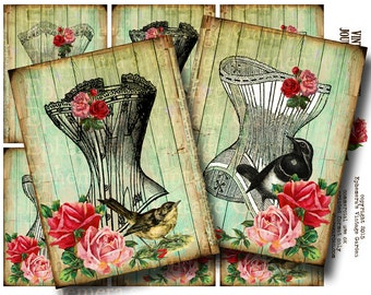 Vintage Corsets - Printable Journaling Cards