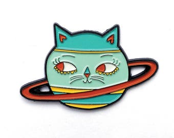 Cat Planet Caturn Soft Enamel Pin