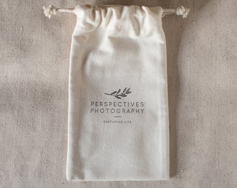 Custom Linen Drawstring Gift Bag, Bags for photographers, Muslin gift bag, Muslin drawstring bag, USB packaging, Client Packaging