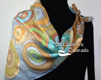 Hand Painted Silk Scarf. Olive & Terracotta Handmade Scarf CIRCLES OF LIFE. Silk Scarves Colorado. Extra-Large 35x35 Square. Birthday Gift