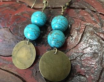 Turquoise & Golden Brass bead dangle santa fe Earrings