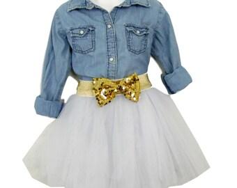 Young Girl Tulle Skirt tutu skirt. Bridal flower girl skirt. (various colors)
