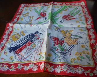 VINTAGE Daisy on a Bicycle Built for 2 Printed Hankie Handkerchief