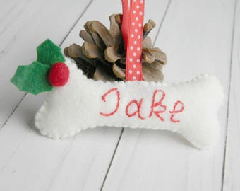Personalized dog bone ornament Felt Christmas dog bone ornament Christmas decoration Puppy Ornament Pet Ornament New puppy gift Family dog