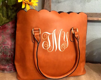 Monogrammed scalloped tote/ womens purse