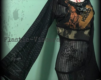 Tattered Bell Sleeve Apocalypse Distressed Voo Doo Witch Mesh Dress