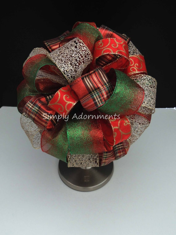 Red Green Gold Christmas Tree Topper Bow Red Green Gold Plaid Christmas Tree Bow Plaid Swirls Topper Tree Bow Winter Holiday Tree Topper