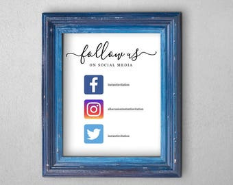 Business Social Media Sign with Icons - Printable Template - Follow Us on Social Media - DIY Instant Download Digital File - 8x10 PDF