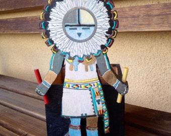 Kachina Doll, Kachina Doll box, Wooden kachina, Kachina wood box, Sun Kachina, Sun Kachina doll, Kachina Native Art, Hopi Kachina Doll