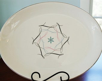 "Mid Century Starburst Swirl China Platter, Allegheny Ware Canonsburg Estrellita 13.5"" Serving Plate, Retro Kitchen Black Pink Aqua Silver"
