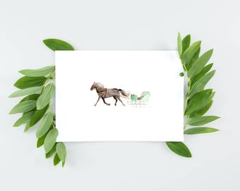 Winter greeting cards | Holiday card set | Set of 5 cards | Set of 10 cards | Blank cards | Horse and sleigh watercolor