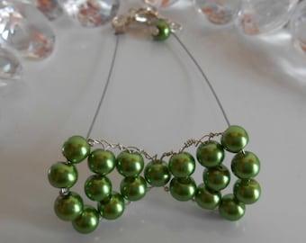 Wedding bow tie green bracelet