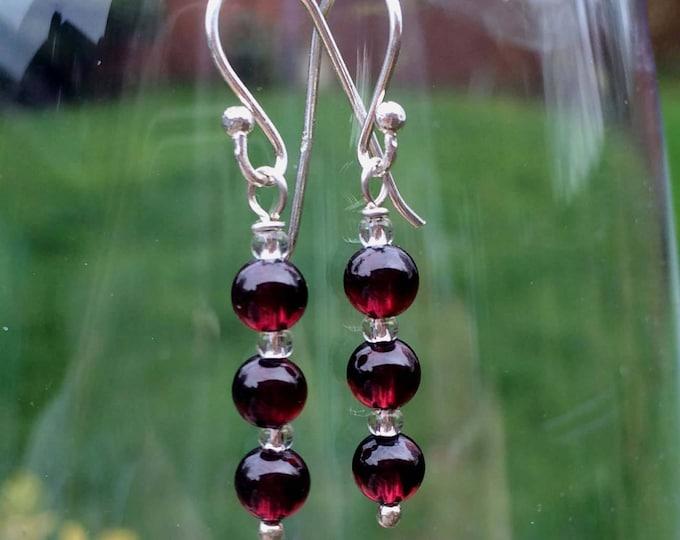 Genuine red Garnet earrings Sterling Silver or 18K Gold Fill - January Birthstone jewellery - Healing - root Chakra gift