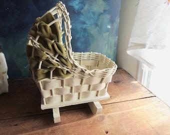 wicker doll cradle, old toy bassinet, vintage doll crib, white nursery decor, white wicker, vintage doll bassinet, cradle planter, doll prop