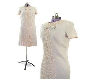 1960s Dress, Linen Dress, 60s Dress, Nude Peach Dress,, Vintage Clothing, Women Dress, Day Dress, Sheath, Party Dress, Small