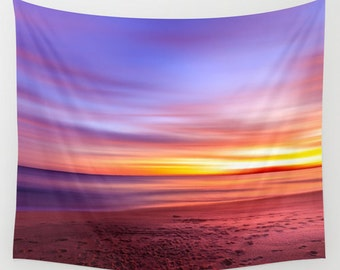 Wall Tapestry - 'Magic Hour' - Home Decor - Wall Decor, Modern, Home Warming, Gift, Symmetry, Bohemian, Boho, Ocean, Sunset, Colorful