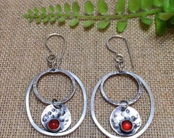 Sterling Silver Hoop Earrings, Double Hoop Earrings, Carnelian Earrings, Argentium Silver Earrings, Ready to Ship