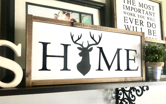 Farmhouse Sign | HOME Sign | Deer Sign | Home Wreath Sign | Fixer Upper | Modern Farmhouse | Home Sign Deer | Home Sign Wreath | Home Sign