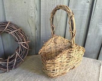 Vintage Twig grapevine basket/ twig basket/ wedding basket/ flower girl basket/ rustic basket/ woodland basket/ farmhouse wedding basket