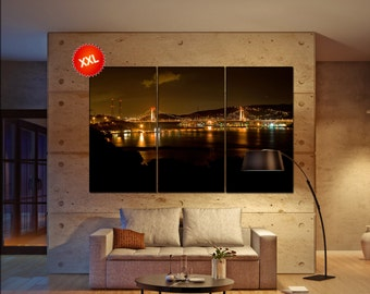 Thousand Islands Bridge Large  canvas wall art Carquinez Bridge in Northern California print fine art 3 / 5 panels decoration