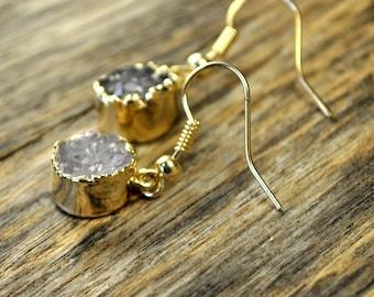 Druzy Earrings, Druzy Gold Earrings, Druzy Jewelry, Druzy Pendant Earrings, Druzy Gold Round Earrings, Druzy Stone, 14k Gold Fill Ear Wire