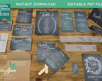 Wedding Stationery Set – Beautiful Barbara - DIY Printable Wedding Stationery, Editable PDF