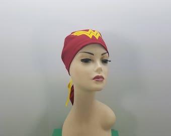 Surgical Cap ponytail stile, scrub caps, personalized-Wonder Woman- Cotton 100%