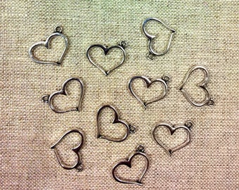 Set of 10 charms hearts silver T37