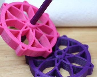 Atomic Flower Bottom Whorl Spindle 3D Printed